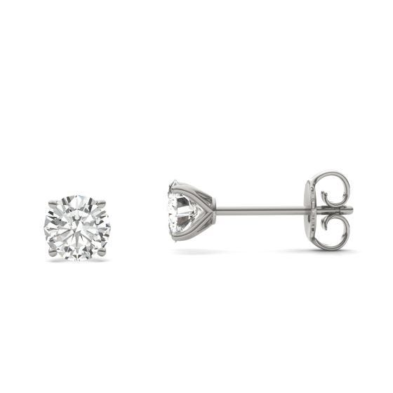 1.00 CTW DEW Round Forever One Moissanite Four Prong Martini Solitaire Stud Earrings 14K White Gold
