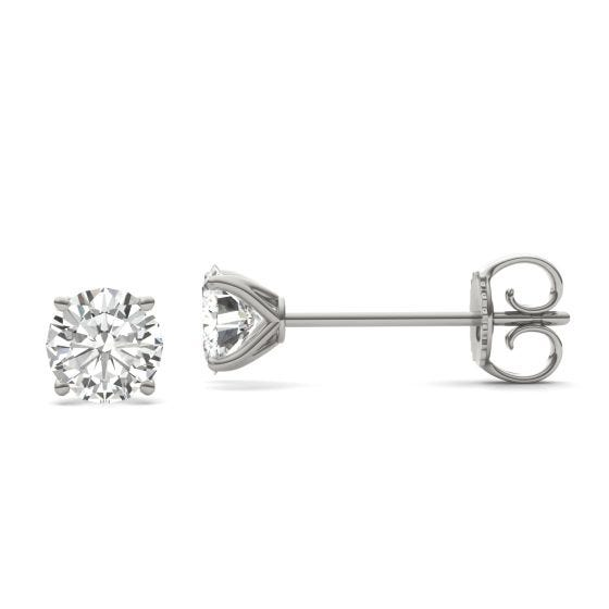 2.00 CTW DEW Round Forever One Moissanite Four Prong Martini Solitaire Stud Earrings 14K White Gold