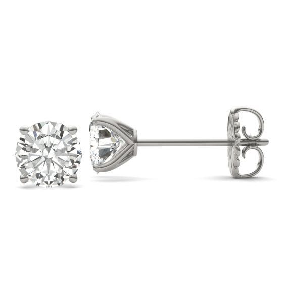 3.80 CTW DEW Round Forever One Moissanite Four Prong Martini Solitaire Stud Earrings 14K White Gold