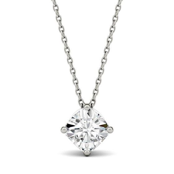 1.70 CTW DEW Cushion Forever One Moissanite Solitaire Pendant Necklace 14K White Gold
