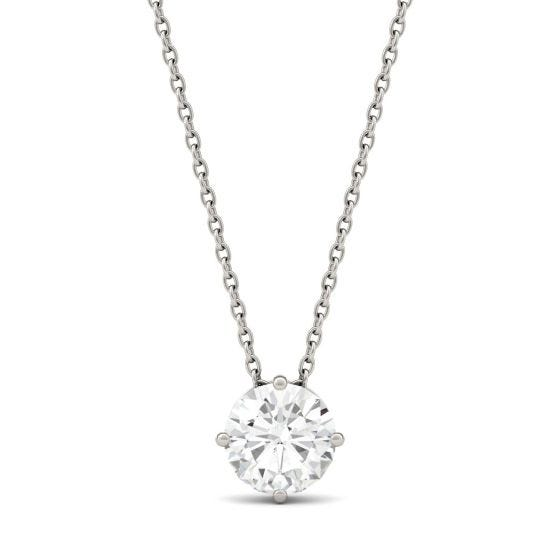 1.00 CTW DEW Round Forever One Moissanite Solitaire Pendant Necklace 14K White Gold