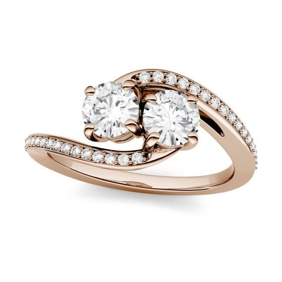 1.16 CTW DEW Round Forever One Moissanite Two Stone Bypass Ring 14K Rose Gold