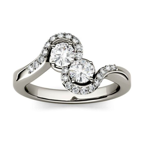 1.18 CTW DEW Round Forever One Moissanite Two Stone Bypass with Side Accents Ring 14K White Gold