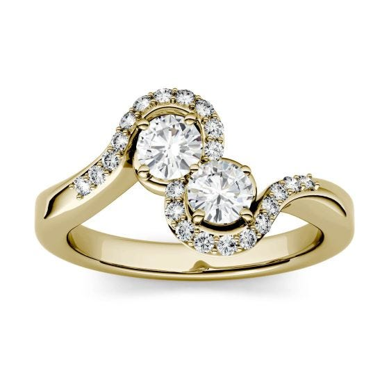 1.18 CTW DEW Round Forever One Moissanite Two Stone Bypass with Side Accents Ring 14K Yellow Gold