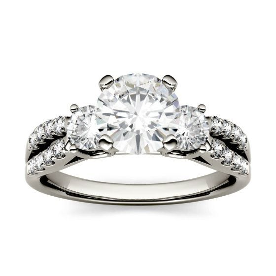 0.98 CTW DEW Round Forever One Moissanite Split Shank Three Stone Ring 14K White Gold