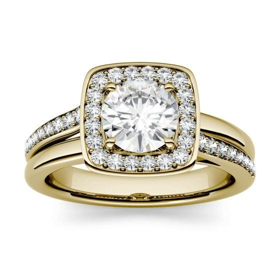 1.27 CTW DEW Round Forever One Moissanite Channel Set Halo with Side Accents Engagement Ring 14K Yellow Gold