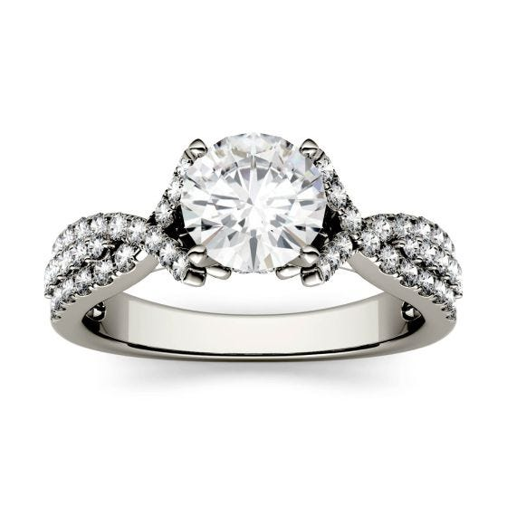 1.56 CTW DEW Round Forever One Moissanite Triple Row Solitaire with Side Accents Ring 14K White Gold