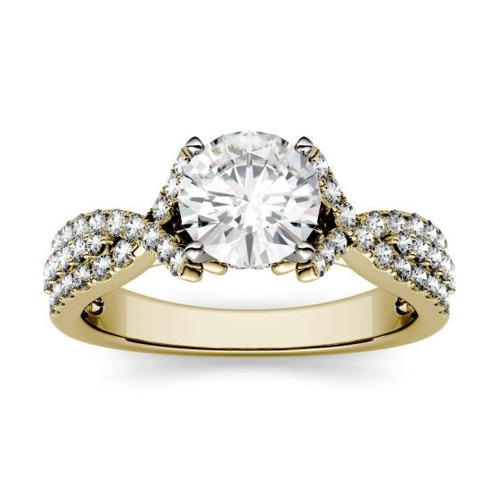 1.56 CTW DEW Round Forever One Moissanite Triple Row Solitaire with Side Accents Ring 14K Yellow Gold