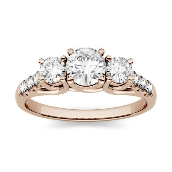 3.31 CTW DEW Round Forever One Moissanite Trellis Three Stone Ring 14K Rose Gold