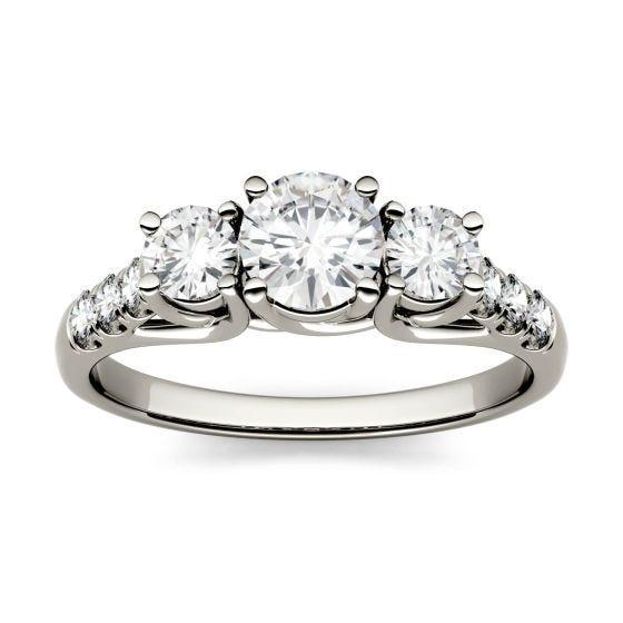 3.31 CTW DEW Round Forever One Moissanite Trellis Three Stone Ring 14K White Gold