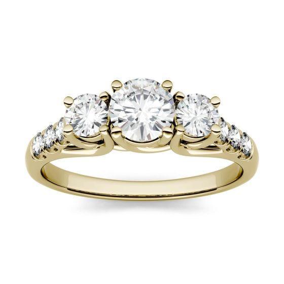 3.31 CTW DEW Round Forever One Moissanite Trellis Three Stone Ring 14K Yellow Gold