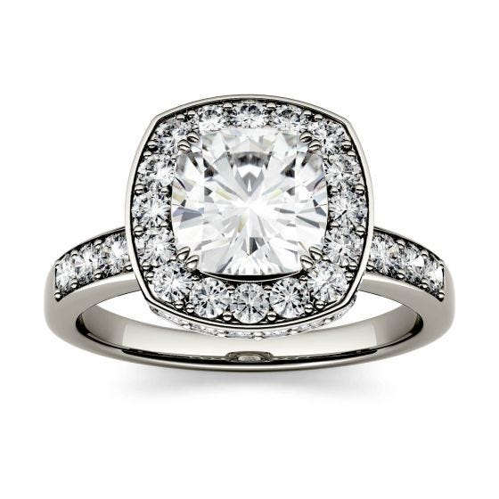 3.10 CTW DEW Cushion Forever One Moissanite Channel Set Halo with Side Accents Engagement Ring 14K White Gold