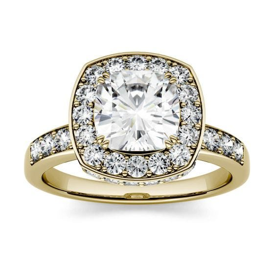 3.10 CTW DEW Cushion Forever One Moissanite Channel Set Halo with Side Accents Engagement Ring 14K Yellow Gold