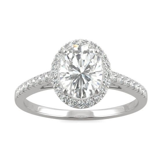 1.16 CTW DEW Oval Forever One Moissanite Halo with Side Accents Engagement Ring 14K White Gold