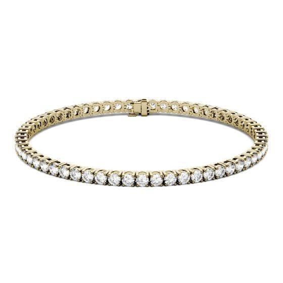 5.40 CTW DEW Round Forever One Moissanite Four Prong Tennis Bracelet 14K Yellow Gold