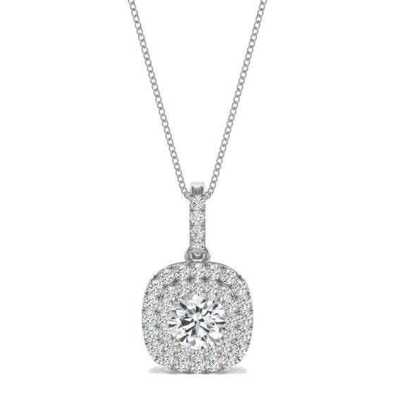 1.13 CTW DEW Round Forever One Moissanite Double Halo Necklace 14K White Gold