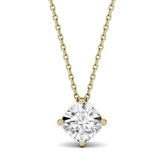 2.00 CTW DEW Cushion Forever One Moissanite Solitaire Pendant Necklace 14K Yellow Gold