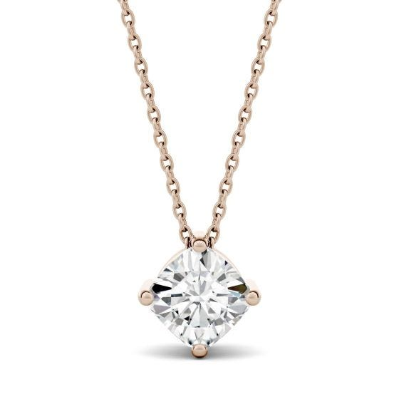 0.50 CTW DEW Cushion Forever One Moissanite Solitaire Pendant Necklace 14K Rose Gold