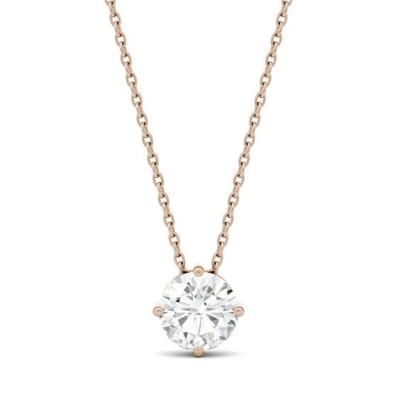 1.00 CTW DEW Round Forever One Moissanite Solitaire Pendant Necklace
