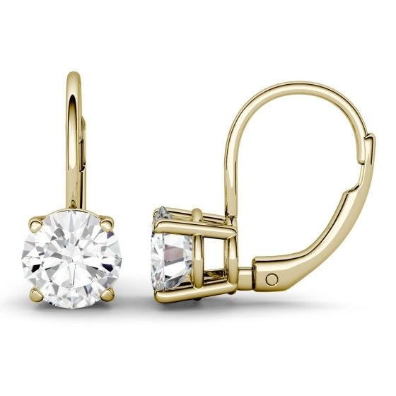 2.00 CTW DEW Round Forever One Moissanite Leverback Earrings 14K Yellow Gold