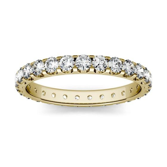 1.12 CTW DEW Round Forever One Moissanite Eternity Band 14K Yellow Gold