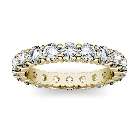 1.80 CTW DEW Round Forever One Moissanite Shared Prong Eternity Band Ring 14K Yellow Gold