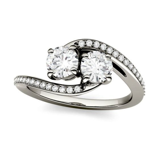 1.16 CTW DEW Round Forever One Moissanite Two Stone Bypass Ring 14K White Gold