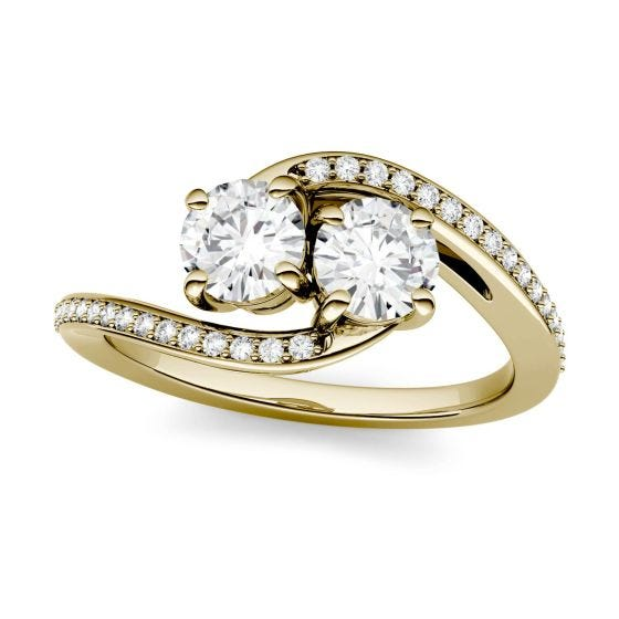 1.16 CTW DEW Round Forever One Moissanite Two Stone Bypass Ring 14K Yellow Gold