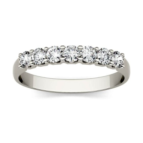 0.42 CTW DEW Round Forever One Moissanite Shared Prong Seven Stone Band Ring 14K White Gold