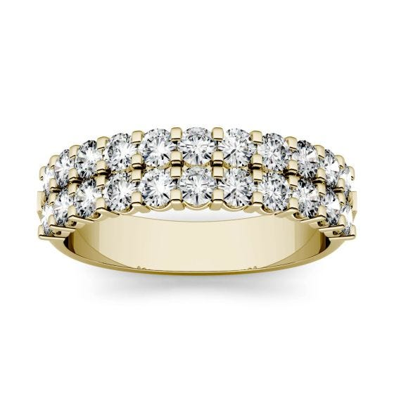 1.32 CTW DEW Round Forever One Moissanite Double Row Anniversary Band Ring 14K Yellow Gold