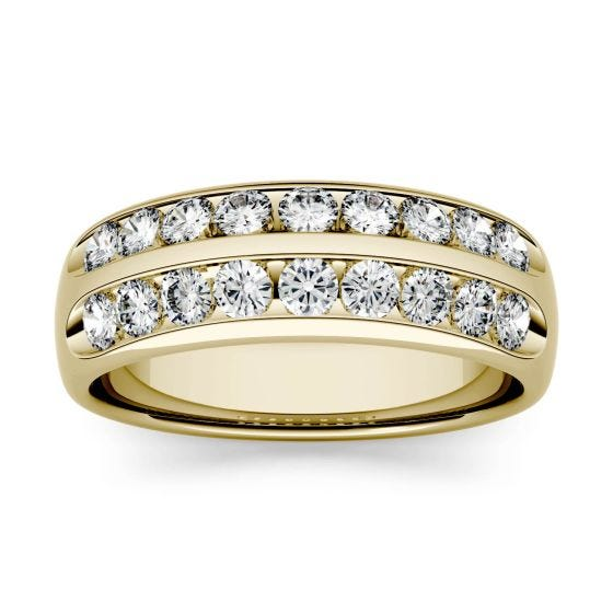 0.72 CTW DEW Round Forever One Moissanite Double Row Anniversary Band Ring 14K Yellow Gold