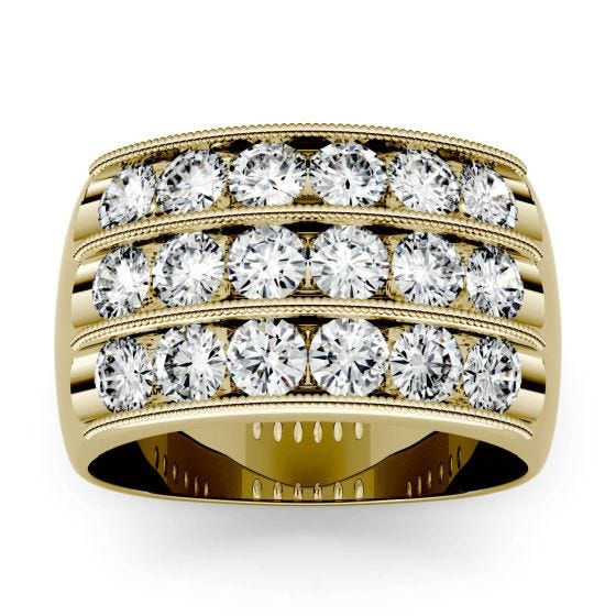 2.88 CTW DEW Round Forever One Moissanite Triple Row Anniversary Band Ring 14K Yellow Gold