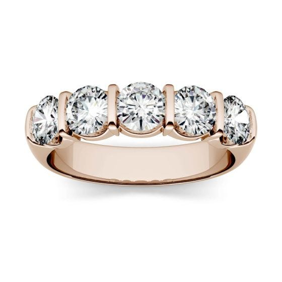 1.65 CTW DEW Round Forever One Moissanite Five Stone Band Ring 14K Rose Gold