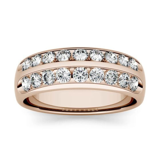 0.72 CTW DEW Round Forever One Moissanite Double Row Anniversary Band Ring 14K Rose Gold