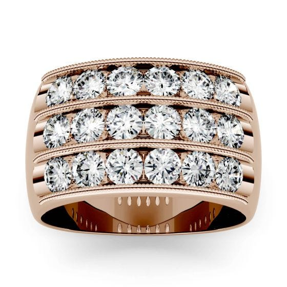 2.88 CTW DEW Round Forever One Moissanite Triple Row Anniversary Band Ring 14K Rose Gold