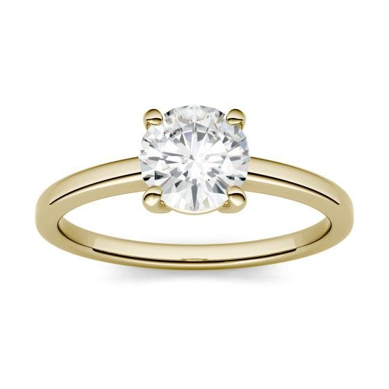 1.00 CTW DEW Round Forever One Moissanite Four Prong Solitaire Engagement Ring 14K Yellow Gold