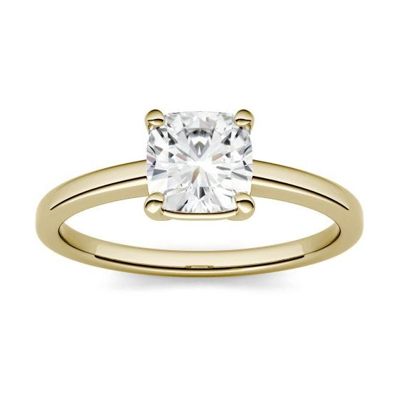 3.30 CTW DEW Cushion Forever One Moissanite Four Prong Solitaire Engagement Ring 14K Yellow Gold
