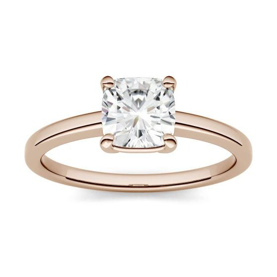 3.30 CTW DEW Cushion Forever One Moissanite Four Prong Solitaire Engagement Ring 14K Rose Gold