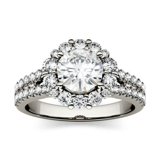 1.88 CTW DEW Round Forever One Moissanite Split Shank Halo with Side Accents Ring 14K White Gold