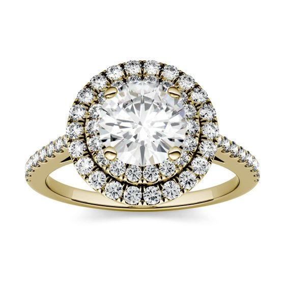 1.27 CTW DEW Round Forever One Moissanite Halo with Side Accents Ring 14K Yellow Gold