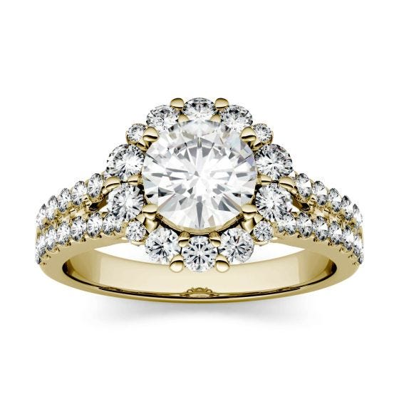 1.88 CTW DEW Round Forever One Moissanite Split Shank Halo with Side Accents Ring 14K Yellow Gold