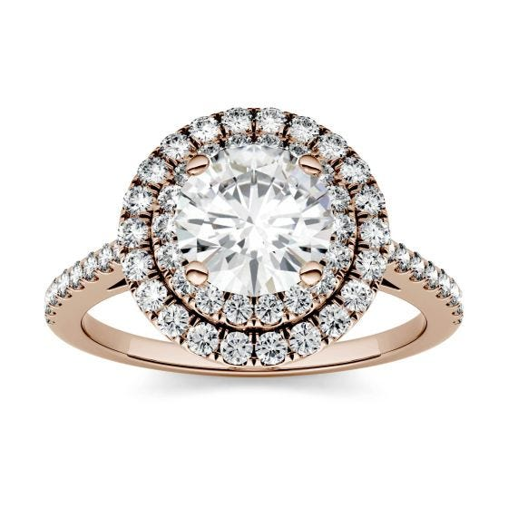 1.27 CTW DEW Round Forever One Moissanite Halo with Side Accents Ring 14K Rose Gold