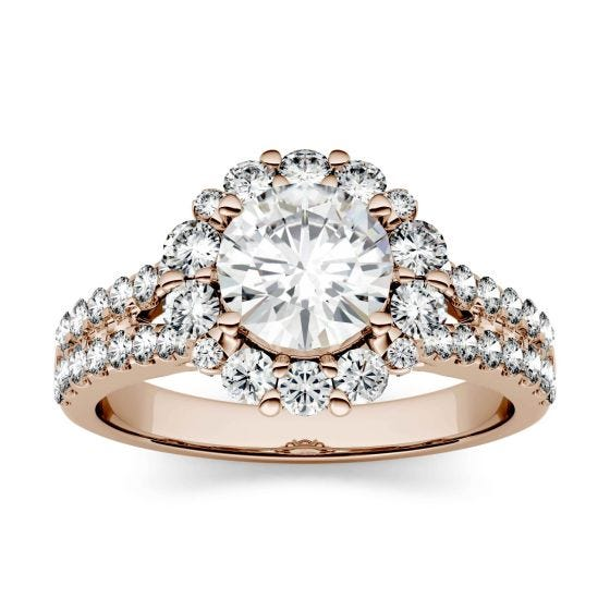 1.88 CTW DEW Round Forever One Moissanite Split Shank Halo with Side Accents Ring 14K Rose Gold