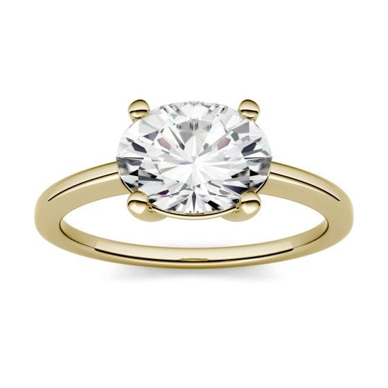 1.50 CTW DEW Oval Forever One Moissanite East-West Solitaire Engagement Ring 14K Yellow Gold