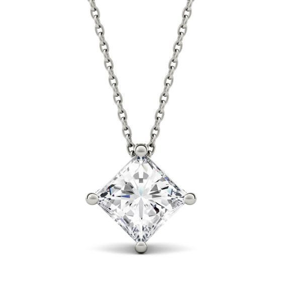1.70 CTW DEW Square Forever One Moissanite Solitaire Pendant Necklace 14K White Gold