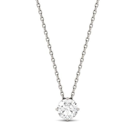 0.50 CTW DEW Round Forever One Moissanite Solitaire Pendant Necklace 14K White Gold