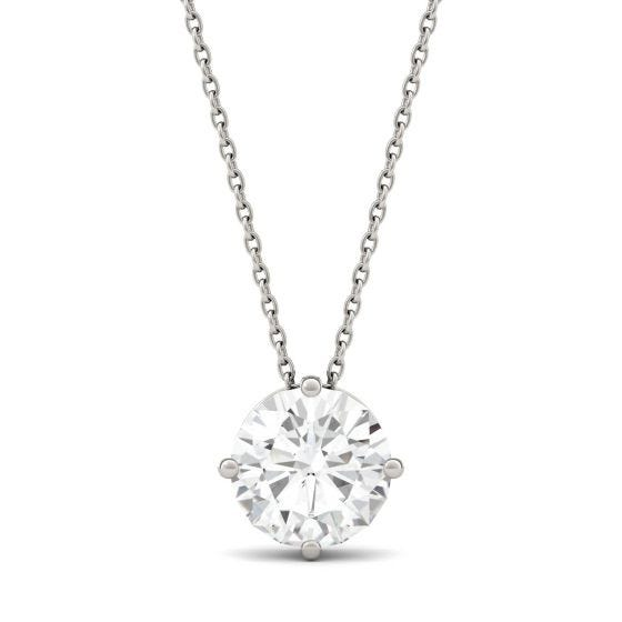 1.90 CTW DEW Round Forever One Moissanite Solitaire Pendant Necklace 14K White Gold