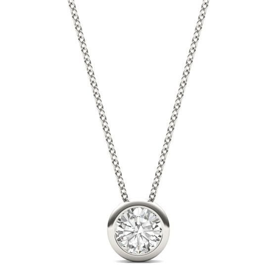 0.50 CTW DEW Round Forever One Moissanite Bezel Set Solitaire Pendant Necklace 14K White Gold