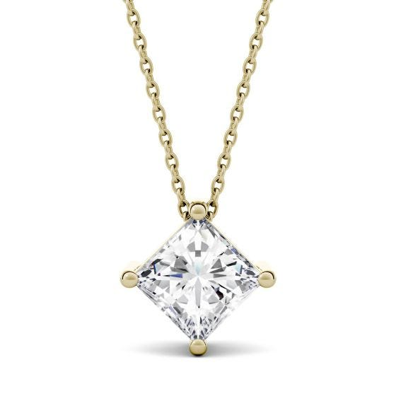 1.70 CTW DEW Square Forever One Moissanite Solitaire Pendant Necklace 14K Yellow Gold