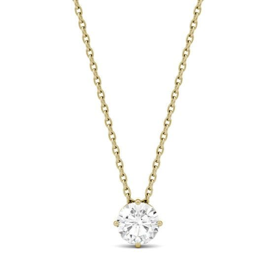 0.50 CTW DEW Round Forever One Moissanite Solitaire Pendant Necklace 14K Yellow Gold